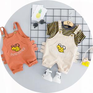 宝宝夏装背带裤两件套2019春夏婴幼儿外出洋气男小童短袖衣服套装