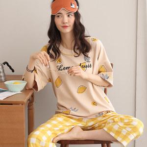 <span class=H>睡衣</span>女夏季韩版可出门外穿休闲纯棉短袖七分裤夏天格子家居服套装