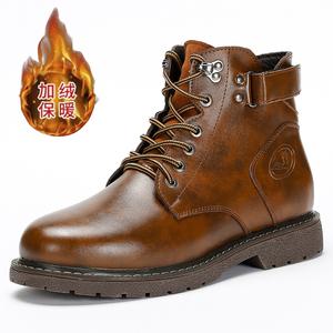 冬季加绒马丁靴男中高帮真皮军靴工装靴子男士黑色皮靴英伦大码潮