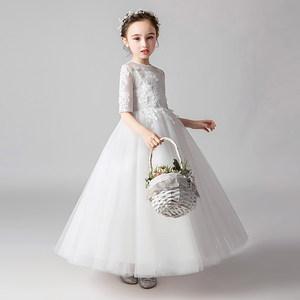 女童白色生日公主裙花童<span class=H>婚纱</span>裙蓬蓬纱儿童小主持人演出服礼服夏季