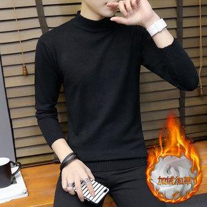 冬季半高领<span class=H>毛衣</span>男士加厚韩版修身黑色中领加绒打底针织衫线衣男装