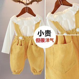 领20元券购买女宝宝春装2019新款女童套装裙一岁女孩1-3岁2洋气时髦两件套童装