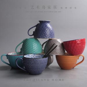 个性创意<span class=H>陶瓷</span>冰激凌<span class=H>杯子</span>欧式浮雕手绘杯大容量马克杯家用沙拉水杯