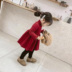 <span class=H>童装</span>女童2019新款洋气红色毛衣裙连衣裙宝宝公主裙儿童秋冬裙子