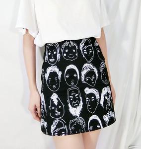 XLX 2019夏新韩版修身个性人头像印花高腰包臀半身裙女休闲<span class=H>短裙</span>