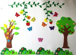 幼儿园环创布置墙面板报装饰材料无纺布柳条水果植物小草立体组合