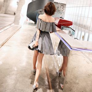 小晚礼服女2019时尚一字肩很仙的仙气简单大方显瘦连衣裙派对短款