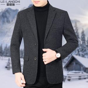 2019冬季加厚新款中年男休闲羊毛呢西装上衣韩版小单西潮<span class=H>外套</span>西服