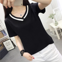 White short-sleeved T-shirt in cotton jacket for the summer of 2019 Ladies'Loose New Style Women's Fashion Round-collar Large Size Women's Wear