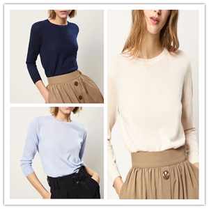 现货西班牙 M家 <span class=H>女装</span>纯色圆领羊绒毛衣春秋套头毛针织衫 薄款