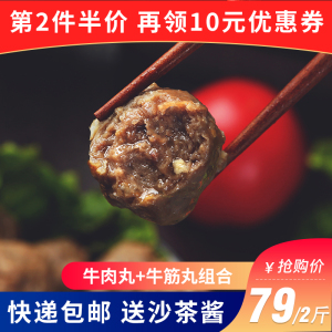 潮汕特产手打牛肉丸牛筋丸1000g 汕头火锅新鲜肉丸食材烧烤组合串