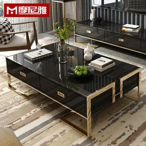 后现代轻奢黑白色亮光烤漆茶几1.2米钢化玻璃长方形客厅沙发茶桌