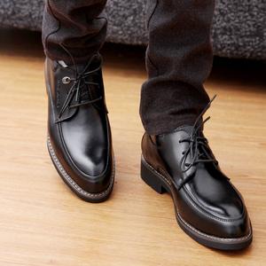 冬季款男士皮鞋厚底商务正装皮鞋英伦德比鞋真皮<span class=H>男鞋</span>小码36系带37