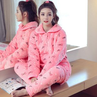Chun ke er winter ladies cardigan pajamas lively and lovely