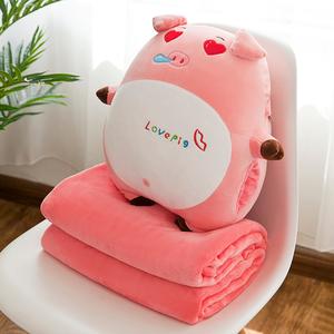 空调被抱枕两用办公室午睡枕男女折叠毯子靠垫靠枕被子三合一<span class=H>暖手</span>