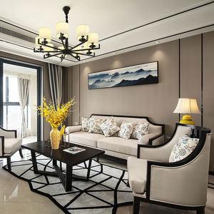 新中式<span class=H>沙发</span>组合现代样板间禅意简约小户型实木客厅茶楼家具定制