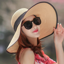 Beach Straw Hat Lady Summer Beach Hat eaves sunscreen sunshade travel vacation Baitu cool hat sunshine summer