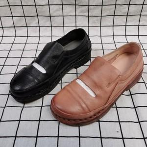 真皮<span class=H>女鞋</span>断码处理舒适圆头一脚蹬软底防滑<span class=H>单鞋</span>百搭牛筋底妈妈<span class=H>单鞋</span>