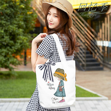 Recalling Season 2019 Simple Personality Women Canvas Bag Korean Literature and Art Model College Style Small Fresh and Thicker Single Shoulder Bag