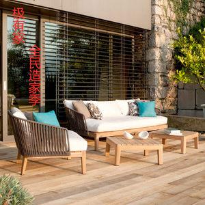 北欧户外藤编沙发组合露天庭院样板间别墅家用休闲桌椅藤椅三件套