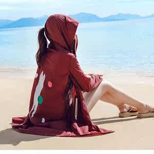 白色<span class=H>防曬衣</span>松緊袖口夏款純色女款防曬服舒適超薄防蟲女士外套外套