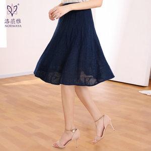 新款女装夏装洛薇雅中腰提花<span class=H>伞裙</span>闪光丝羊毛针织半身裙