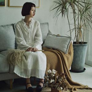 然而和风原创设计百搭高腰<span class=H>半身裙</span>松紧弹力腰围复古褶皱面料纯棉