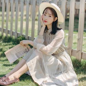 森女系网纱<span class=H>连衣裙子</span>2019春夏季格子系带衬衫裙学生中长款格子裙仙