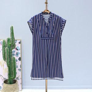 二期●新款<span class=H>连衣裙</span>2018夏装品牌折扣女装B8-300条纹立领显瘦衬衫裙
