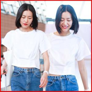 劉雯明星同款白色t恤女收腰夏季<span class=H>女裝</span>2019新款泫雅風露臍上衣半袖
