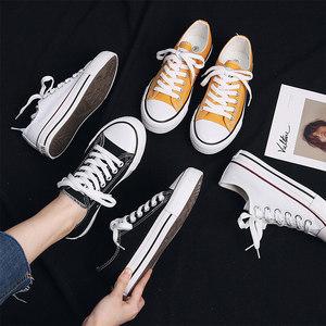 蓓尔低帮白色帆布鞋<span class=H>女鞋</span>小白鞋韩版透气休闲平底鞋板学生鞋子秋