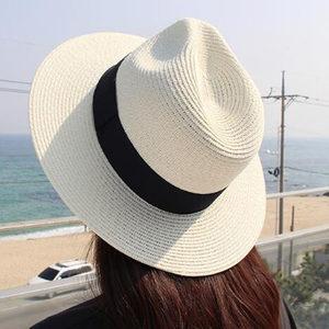 夏季遮阳帽子女可折叠<span class=H>草帽</span>女太阳帽草编宽檐礼帽巴拿马沙滩帽度假