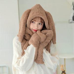 韩版冬季<span class=H>帽子</span><span class=H>围巾</span>手套三件套一体女可爱加厚保暖学生护耳帽套装潮