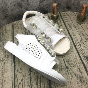 2018欧美夏季新款露趾镂空系带女<span class=H>凉鞋</span>珍珠水钻低跟平底鞋时尚女鞋