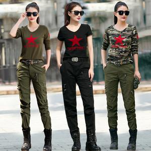 水兵舞<span class=H>服装</span>全新女套装迷彩服新款军绿色<span class=H>户外</span><span class=H>休闲</span><span class=H>衣裤</span>两件套秋