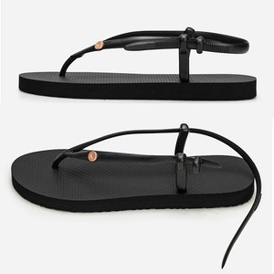 2019夏季新款橡胶人字拖女款纽扣系带甜美系<span class=H>凉鞋</span>沙滩休闲平跟拖鞋