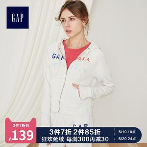 Gap女装长袖连帽卫衣外套440791 2019新款logo<span class=H>上衣</span>女士短款运动衫
