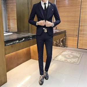 2018新款男装西服纯色英伦风气质款男X14短款套装-P250
