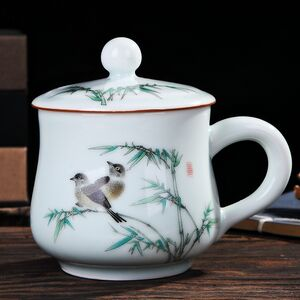 景德镇茶杯<span class=H>陶瓷</span>带盖 青瓷瓷器家用小<span class=H>水杯</span>办公室单杯个人杯子茶具