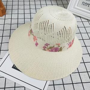 帽子女夏季中老年人大沿遮阳帽盆帽优雅草帽太阳帽妈妈帽<span class=H>渔夫帽</span>