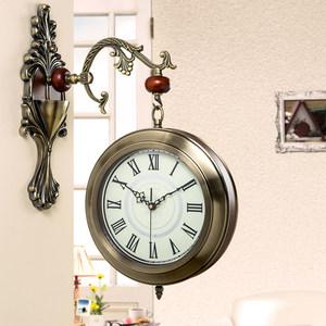 欧式个性双面挂钟客厅时尚创意钟表静音时钟现代简约<span class=H>挂表</span>家用两面
