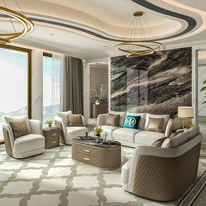 轻奢<span class=H>沙发</span>意大利后现代风大户型真皮港式客厅整装四人位别墅家具