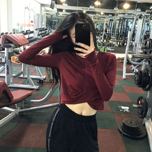 Fitness Girl Loose Navel Short Sports Jacket Running Speed Dry Long Sleeve T-shirt Yoga Suit New Style Shirt Thin