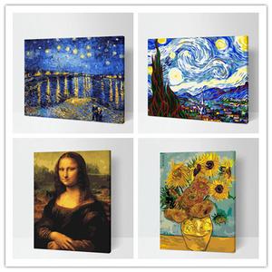 数字<span class=H>油画</span>diy油彩画手工绘世界名画 填色装饰画梵高星空下的罗纳河