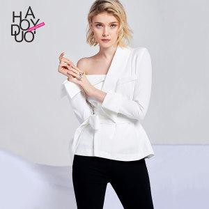 Haoduoyi2019春季新款女装 欧美时尚性感不对称露肩纯色长袖<span class=H>衬衫</span>