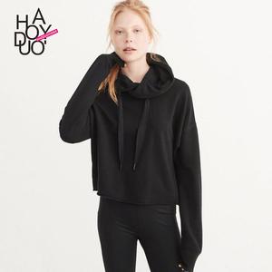 Haoduoyi2017秋季新款女装 <span class=H>欧美</span>时尚<span class=H>运动</span><span class=H>休闲</span>纯色百搭连帽卫衣女