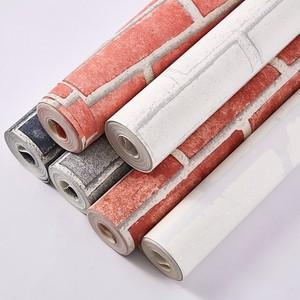 中式砖纹 <span class=H>红砖</span>白砖灰砖文化砖墙纸 茶楼理发店咖啡馆酒吧背景壁纸