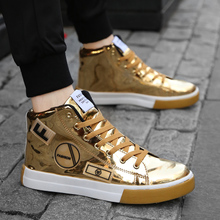Spring 2019 Men's High Uppers Personal Trend Casual Shoes Golden Plate Shoes Gaobang Men's Shoes Korean Version Baitao Tide Shoes