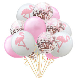 12寸火烈鸟龟背叶<span class=H>菠萝</span>气球 玫瑰金纸屑气球组合夏威夷派对装饰