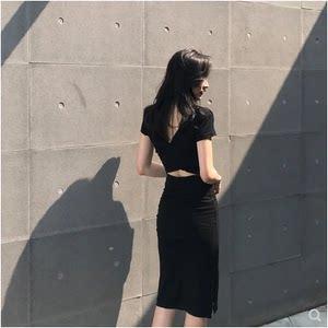小个子沙滩裙露背度假裙女包臀法式性感显瘦中长款气质连衣裙夏季